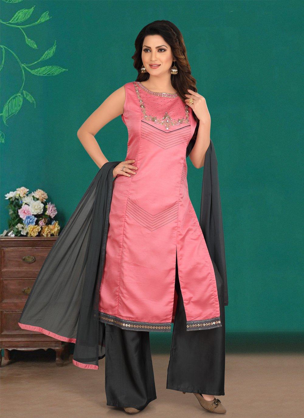 Hot Pink Embroidered Cotton Silk Designer Palazzo Salwar Kameez