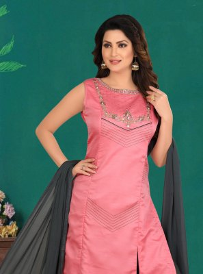 Hot Pink Embroidered Cotton Silk Designer Palazzo Salwar Kameez