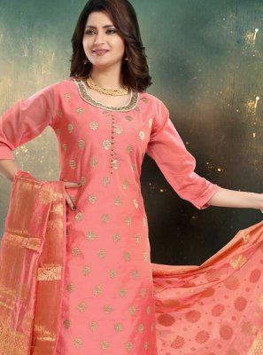 Hot Pink Embroidered Palazzo Suit