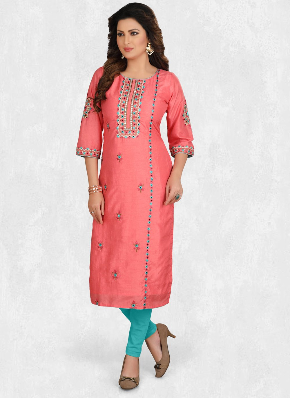 Hot Pink Embroidered Silk Party Wear Kurti