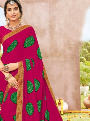 Hot Pink Faux Chiffon Party Classic Saree