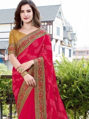 Hot Pink Faux Georgette Embroidered Traditional Saree