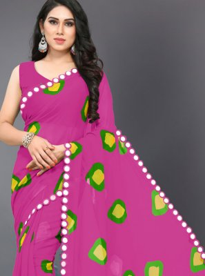 Hot Pink Faux Georgette Printed Saree