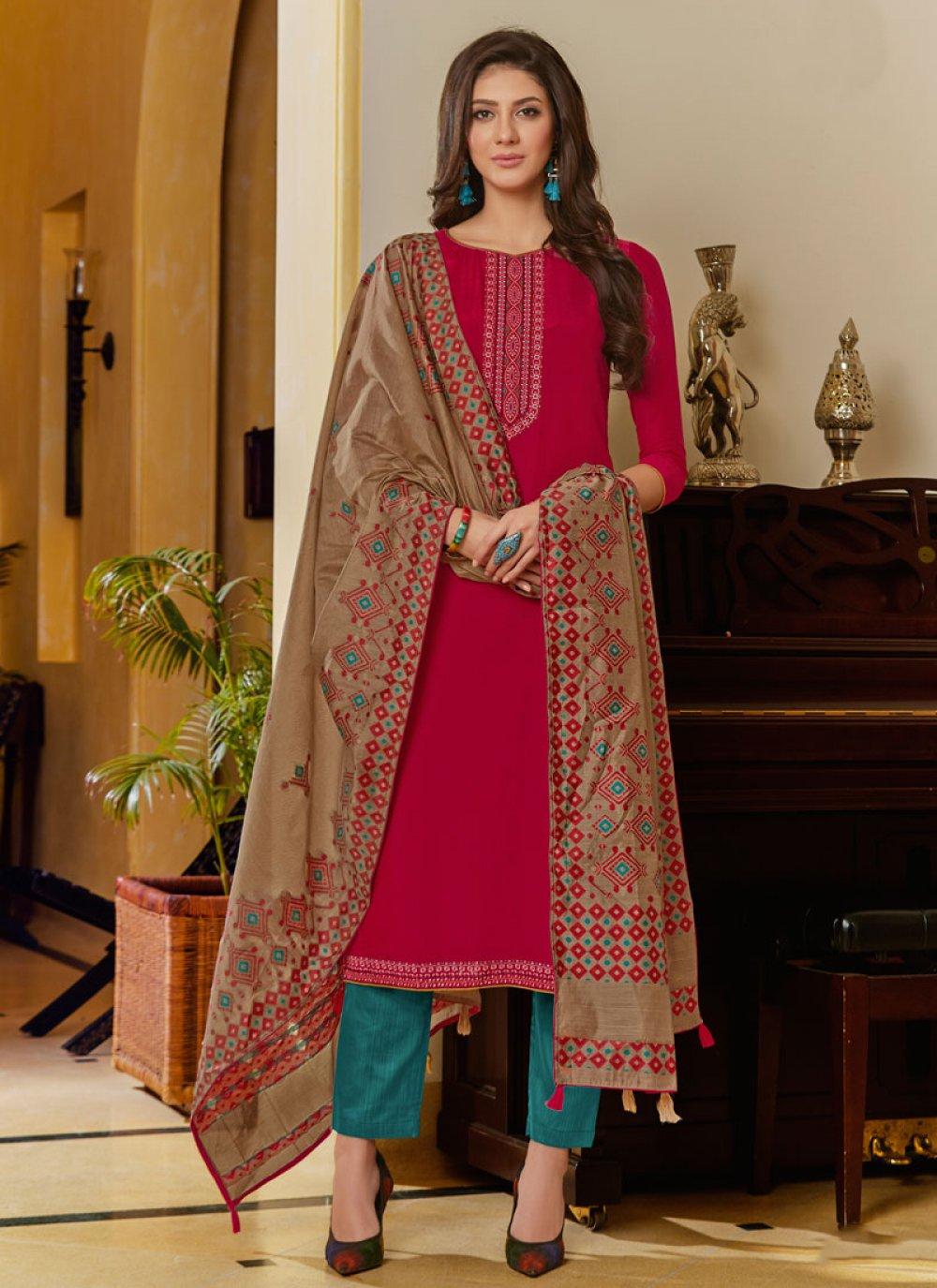 Hot Pink Festival Muslin Designer Pakistani Suit