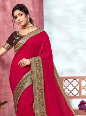 Hot Pink Festival Silk Traditional Saree