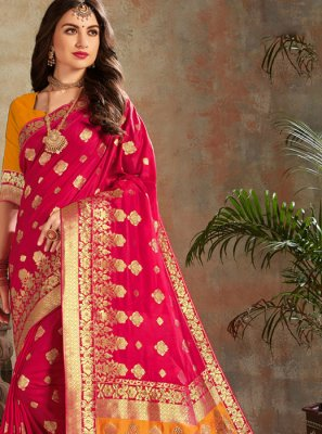 Hot Pink Festival Silk Trendy Saree