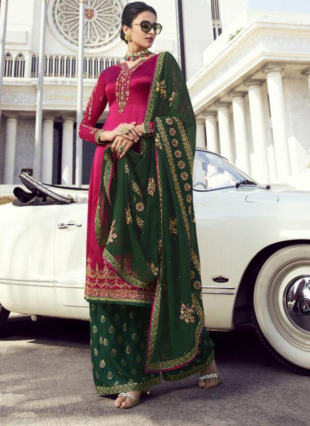 Hot Pink Georgette Designer Salwar Kameez