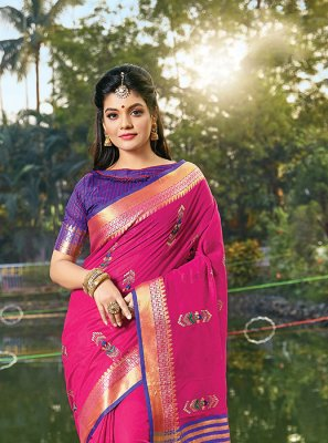 Hot Pink Handloom Cotton Classic Designer Saree