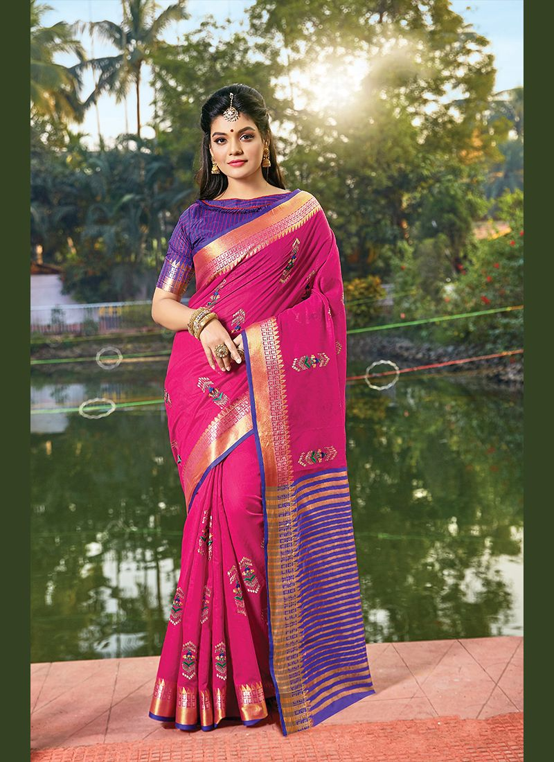 Hot Pink Handloom Cotton Classic Designer Saree