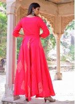 Hot Pink Jamawar Silk Block Print Gown