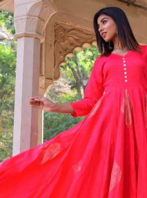 Hot Pink Jamawar Silk Block Print Gown