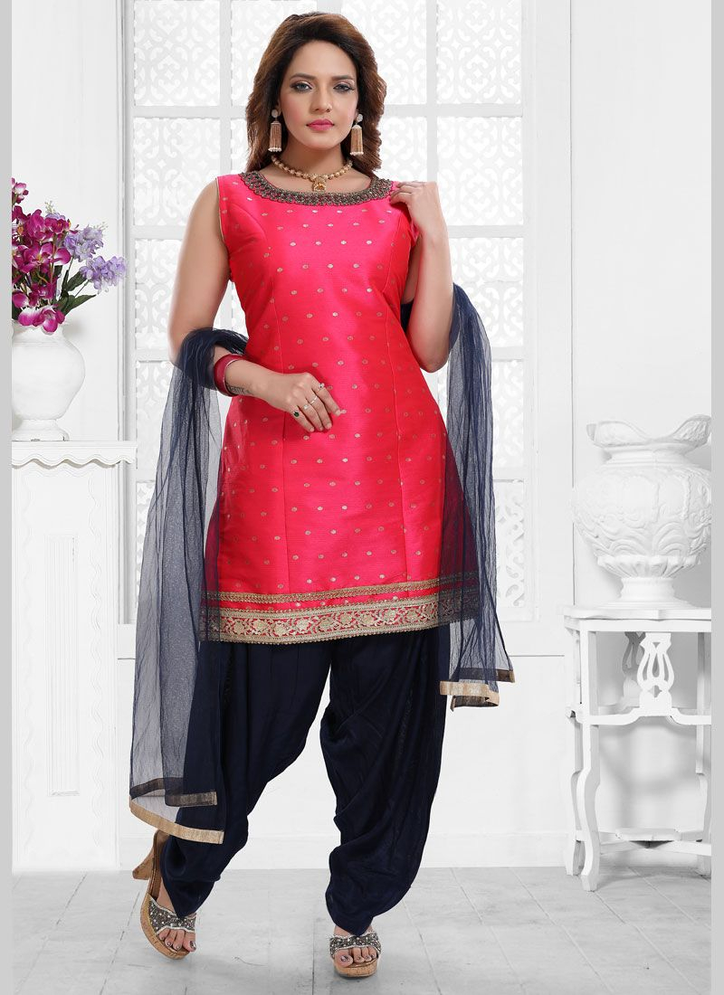 Hot Pink Malbari Silk  Salwar Kameez