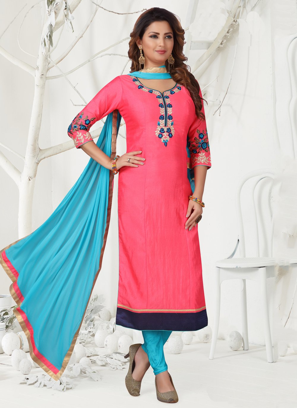 Hot Pink Party Designer Straight Suit