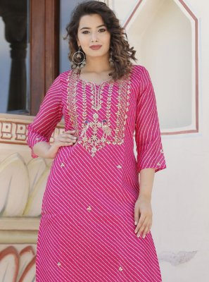 Hot Pink Party Party Wear Kurti