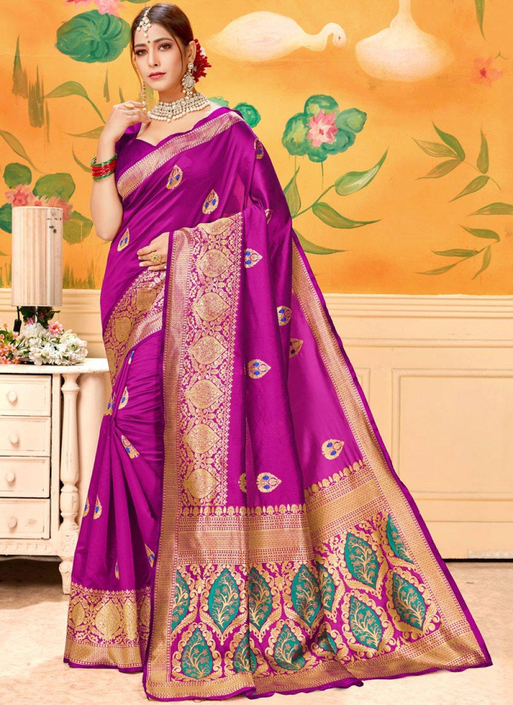 Hot Pink Print Casual Saree