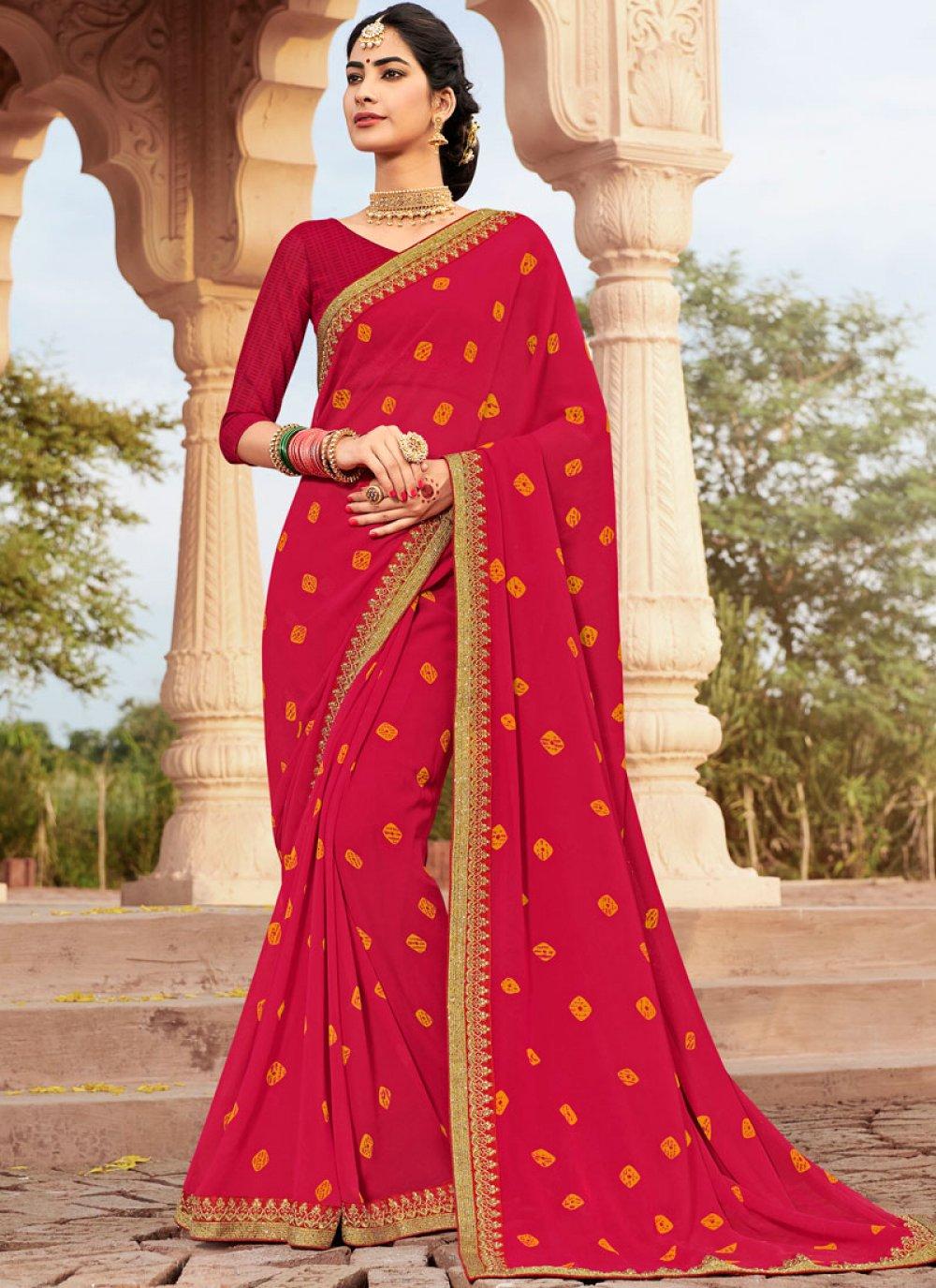 Hot Pink Printed Saree