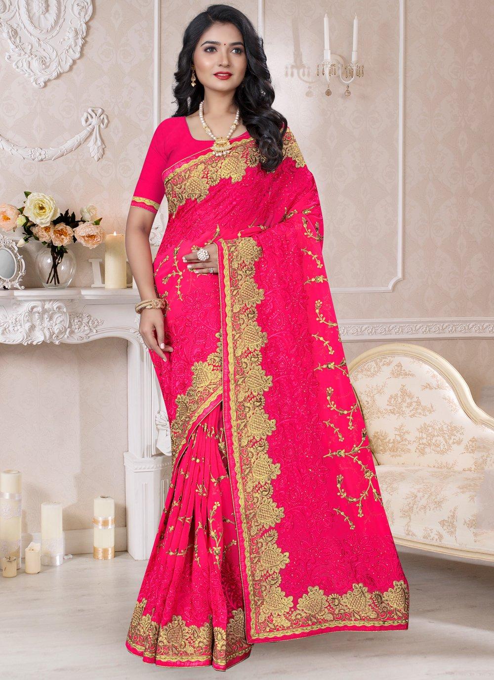 Hot Pink Reception Classic Saree