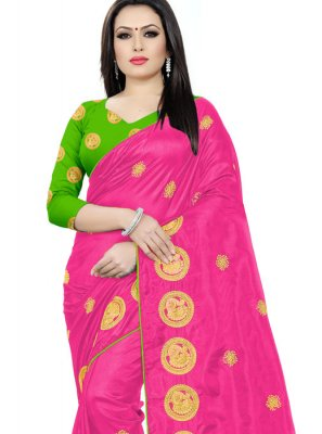Hot Pink Reception Silk Silk Saree