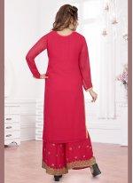 Hot Pink Resham Palazzo Suit