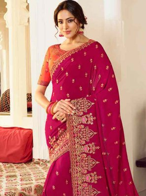 Hot Pink Resham Silk Designer Saree