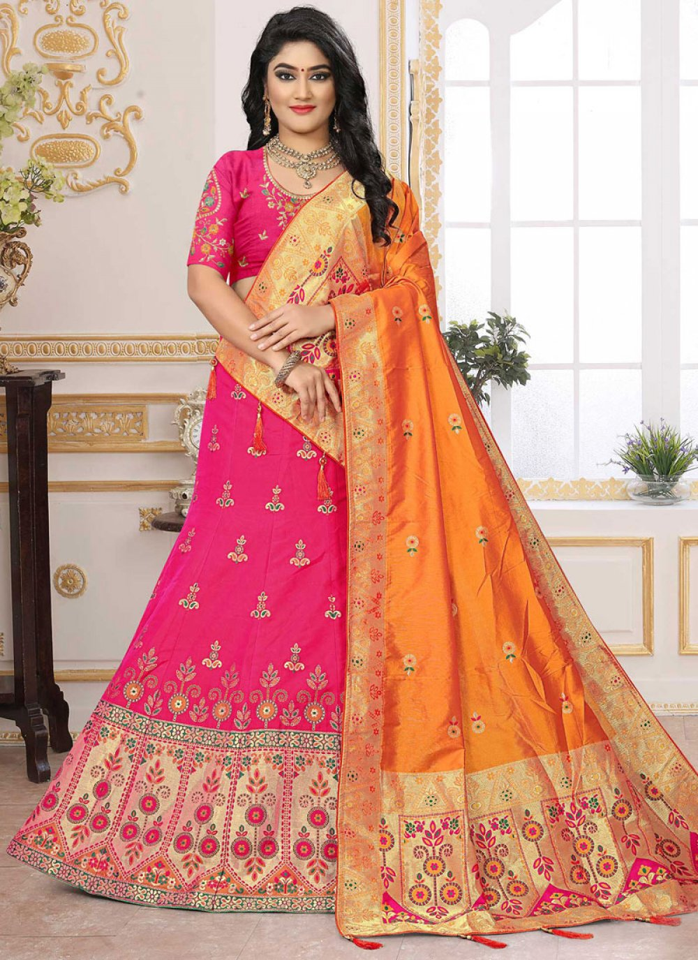 Hot Pink Silk Embroidered Designer Lehenga Choli