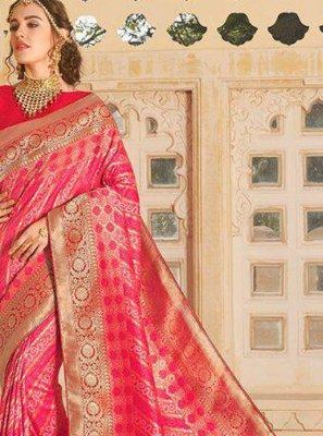 Hot Pink Silk Weaving Classic Saree