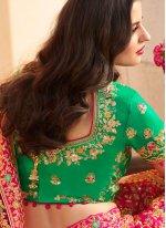 Hot Pink Silk Wedding Designer A Line Lehenga Choli