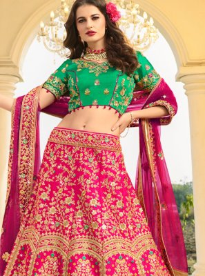 Hot Pink Silk Wedding Designer A Line Lehenga Choli
