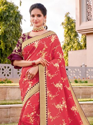 Hot Pink Thread Work Designer Traditional Saree
