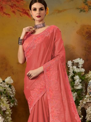 Hot Pink Thread Work Silk Traditional Saree