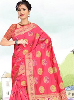 Hot Pink Weaving Casual Saree