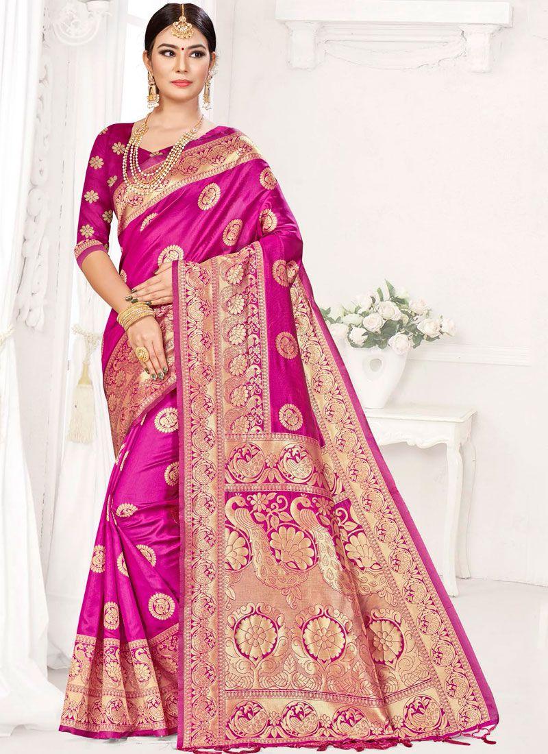 Hot Pink Weaving Festival Designer Traditional Saree