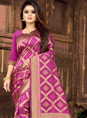 Hot Pink Weaving Silk Casual Saree
