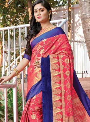 Hot Pink Weaving Silk Designer Saree