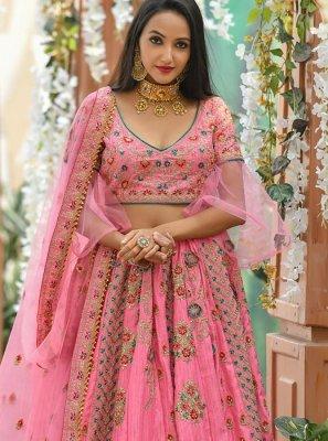 Hot Pink Zari Sangeet Designer Lehenga Choli