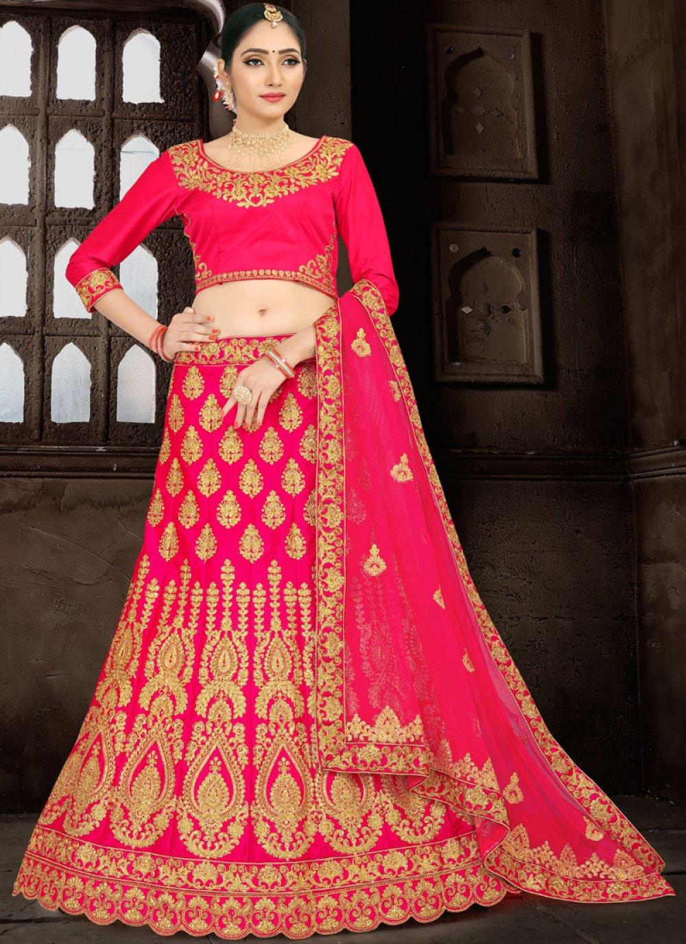 Hot Pink Zari Wedding Lehenga Choli