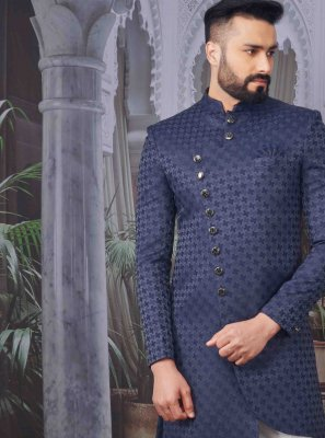 Indo Western Printed Jacquard in Blue