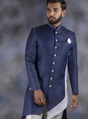 Indo Western Printed Jacquard in Navy Blue