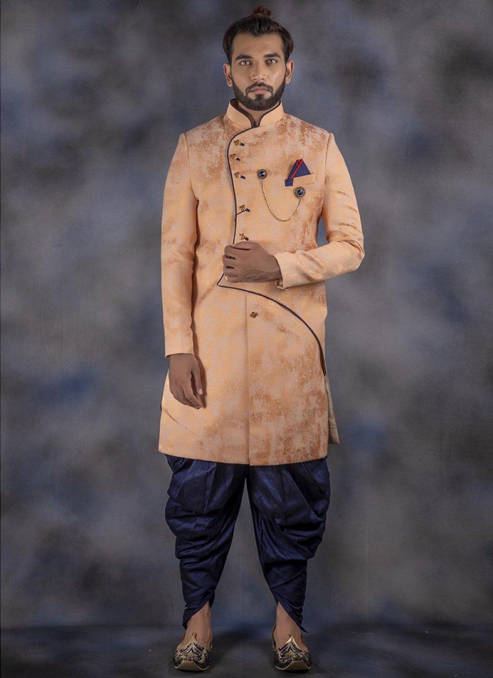 Indo Western Printed Jacquard in Peach