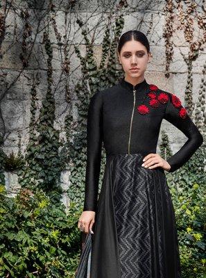 Indo Western Resham Faux Georgette in Black