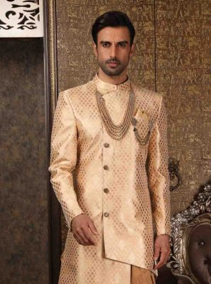 Indo Western Sherwani Embroidered Art Banarasi Silk in Cream