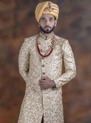 Indo Western Sherwani Embroidered Jacquard in Beige