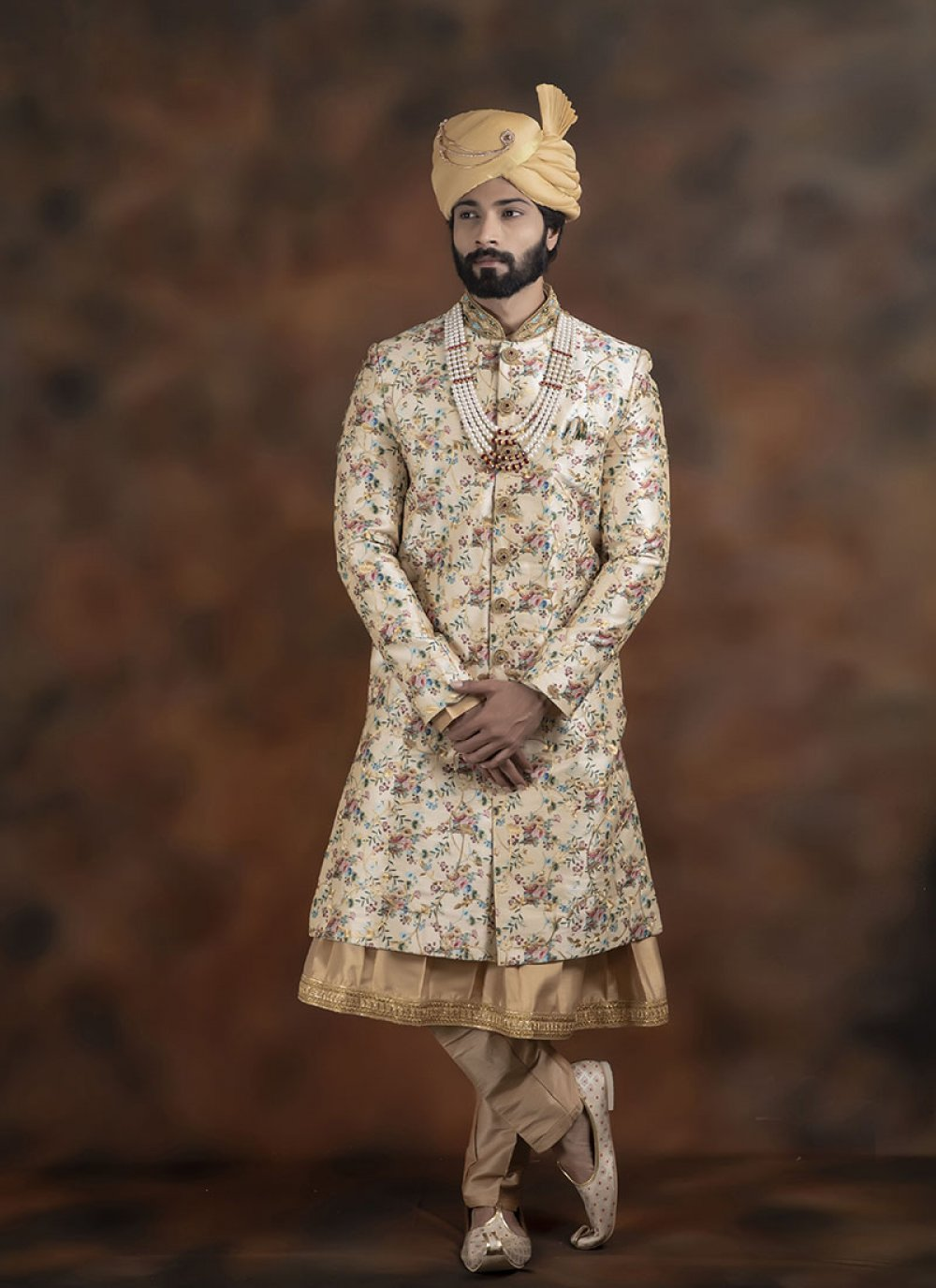 Indo Western Sherwani Embroidered Jacquard in Beige and Gold