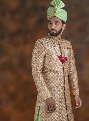Indo Western Sherwani Embroidered Jacquard in Gold and Green