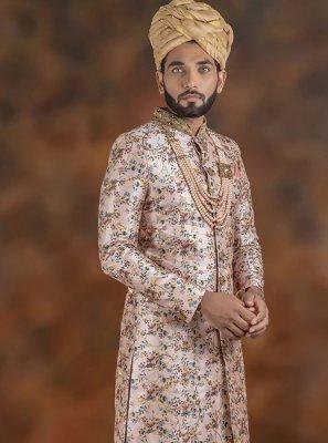 Indo Western Sherwani Embroidered Jacquard in Pink