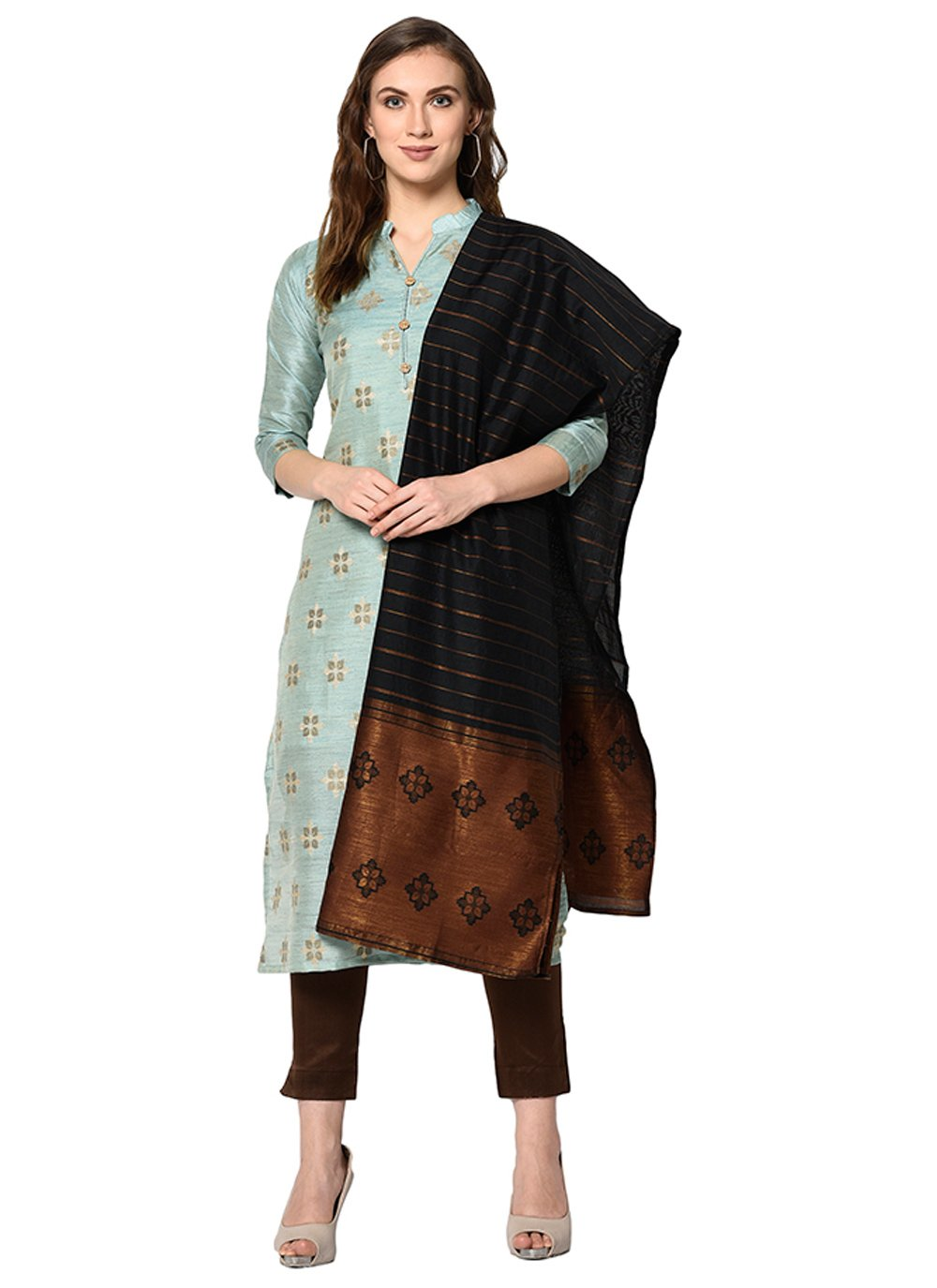Jacquard Abstract Print Salwar Suit in Grey