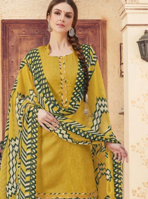 Jacquard Abstract Print Yellow Patiala Suit