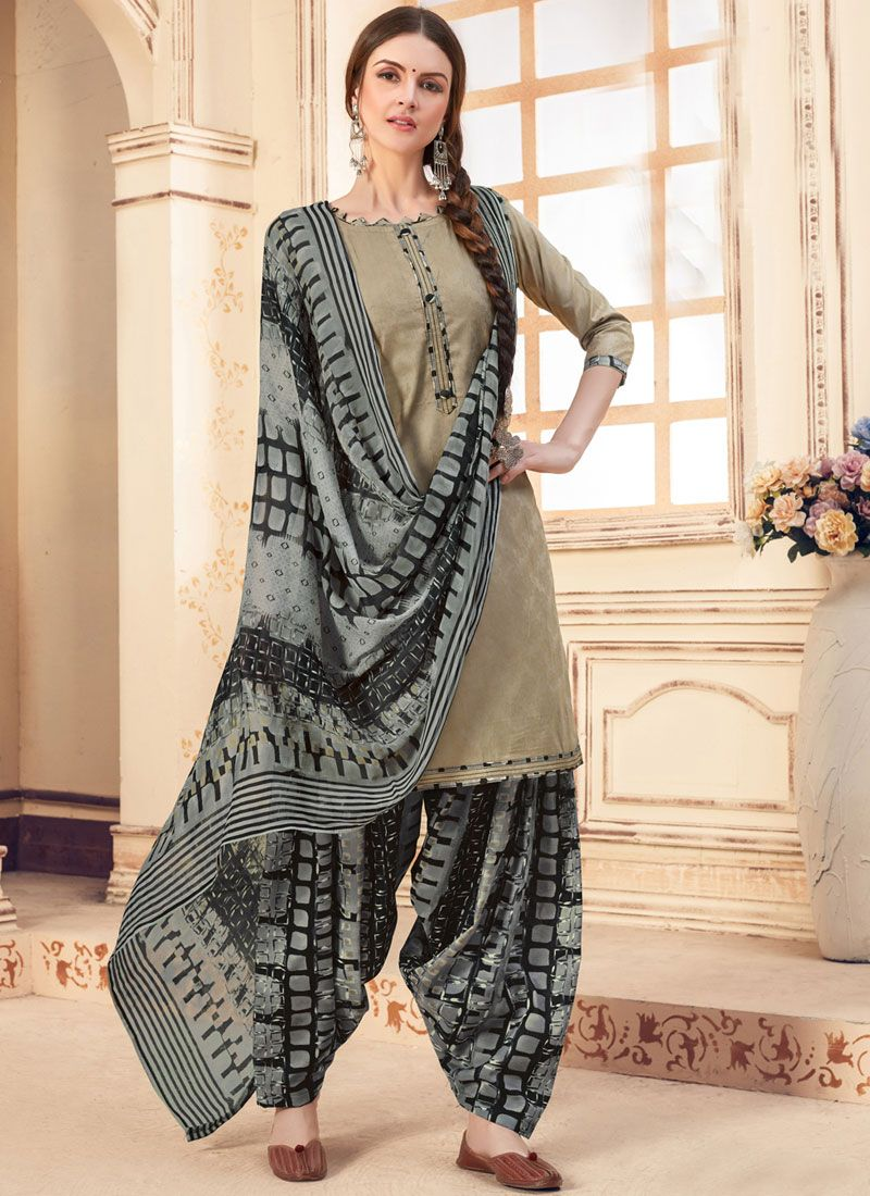 Jacquard Beige Abstract Print Patiala Suit