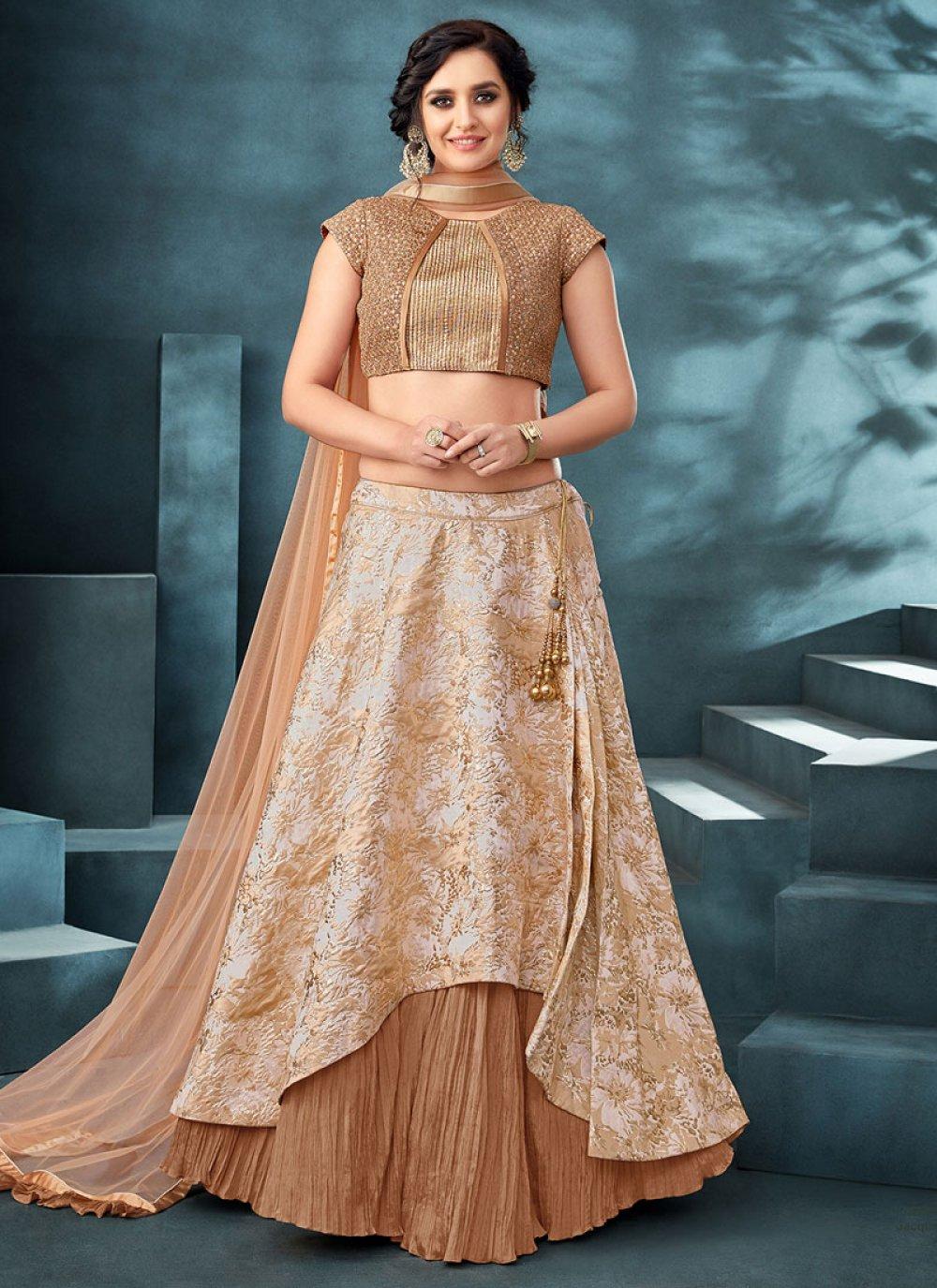 Jacquard Beige Embroidered Trendy Designer Lehenga Choli