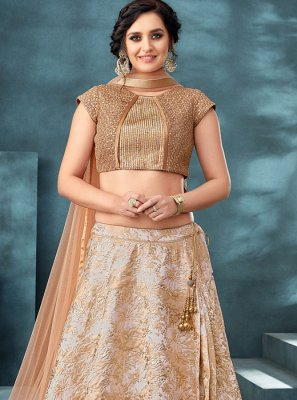 Jacquard Beige Embroidered Trendy Designer Lehenga Choli